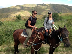 Becky and Ichi enjoying their horses