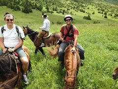 Chris and Robby having a great time; Aksu-Zhabagly Nature Reserve