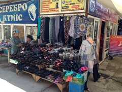 Cheap sandals and clothes for sale; Taraz Bazaar