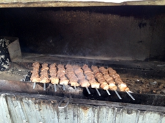 Grilled meat on offer at the bazaar; Taraz