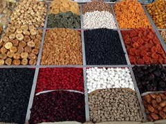 Assorted dried fruits and nuts; Taraz Bazaar