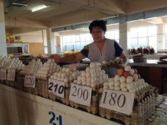 Eggs for sale at the bazaar; Taraz