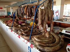 Assorted meat sausages on display