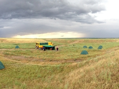 Panorama of our final bush camp in Kazakhstan