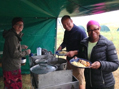 Helen, Bjorn and Denise serve up a fantastic lamb tagine - the best meal of the trip so far!