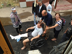 Ben getting released from hospital #1 just before our border crossing into Kyrgyzstan