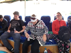 Panorama of Ben on the floor of Habibi as we make our way to border crossing!