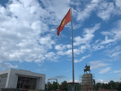 45 meter high national flag of Kyrgyzstan at Ala-Too square