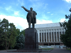 Monument dedicated to Vladimir Lenin, one of the few Lenin statues remaining in Central Asia; Oak Park in Bishkek