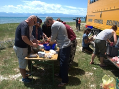 Preparing a quick lunch by the shores of Lake Issyk-Kol