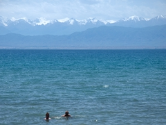 Lars and Robby take a dip in the world's second largest alpine lake and it is surprisingly warm; Lake Issyk-Kol