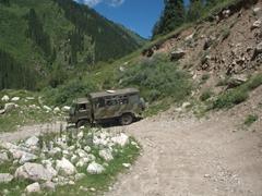 Making a sharp turn down the mountain; Altyn Arashan