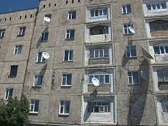 A typical Soviet style apartment block; near Karakol