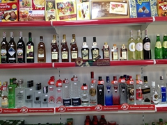 Vodka for sale at $2 for 1 liter, making it one of Bishkek's best bargains