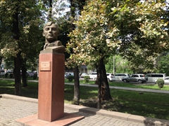 Bronze bust in the Alley of Heroes of World War II; Bishkek