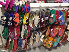 Colorful felt slippers for sale at the Osh Bazaar