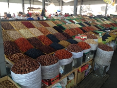 Dried fruits and nuts for sale at the Osh Bazaar