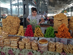 Assorted pastries for sale; Osh Bazaar
