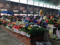 Colorful vegetable section of Osh Bazaar