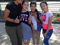 Becky befriends 3 friendly Kyrgyz girls; Bishkek