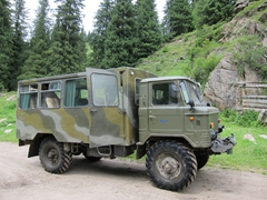 Our ruggedized Russian all purpose trucks, the perfect transport up to Altyn Arashan Nature Reserve