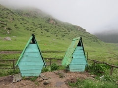 Long drop out-houses with a view; Altyn Arashan Nature Reserve