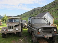 A sampling of the ruggedized vehicles that can make it to the top of Altyn Arashan Reserve
