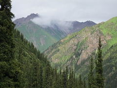 After a torrential downpour (complete with thunder and lightning), the weather finally eases up; Altyn Arashan Reserve