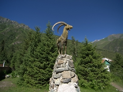 Statue greeting visitors to Ala Archa National Park