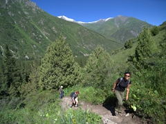 Becky, Kate and Warner on the initial sharp ascent up the Ak-Say Canyon, Ala Archa National Park