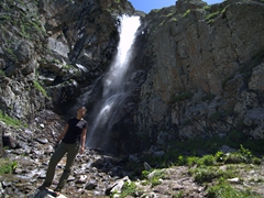 After 2 hours up a steep mountain, we reach our turnaround point at this hidden waterfall; Ala Archa Park