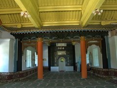 Interior of Karakol's Chinese Mosque (which could easily be mistaken for a Buddhist Temple). The mosque was built in 1910 without a single nail