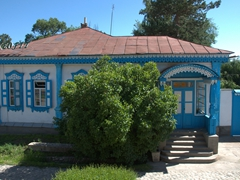 A typical Russian gingerbread house that Karakol is famous for