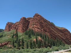 Red sandstone cliffs of Jeti-Ögüz (seven bulls)