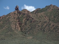 Mountain statue near Lake Issyk-Kul