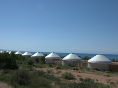 Yurts on Lake Issyk-Kul