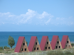 Beach houses; Lake Issyk-Kul