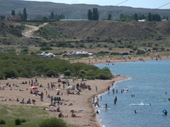 Beach scene on Lake Issyk-Kul