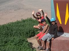 Happy Kyrgyz boys greet us in Bokonbaevo