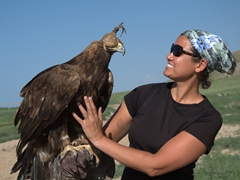 Becky gets up close and personal with the eagle; Bokonbaevo