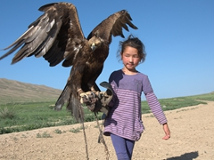The eagle hunter's daughter fearlessly handles this massive bird of prey
