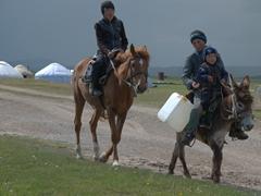 Boys transporting drinking water; Lake Son-Kul