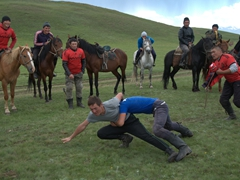 Horse game # 3.5 also has nothing to do with horses. Two teenagers wrestle for dominance