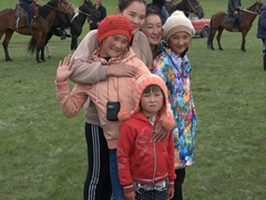 Spectators for the horse games; Lake Son-Kul