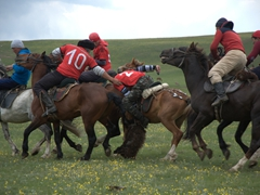 Horse riders fight violently over the sheep carcass using their whips and boots to gain control