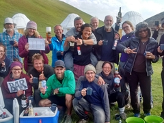 Thanking Ben Levitt for his generosity (6 bottles of wine, 4 bottles of vodka, beer, mixers and scooby snacks) - way to get the party started at Lake Son-Kul!