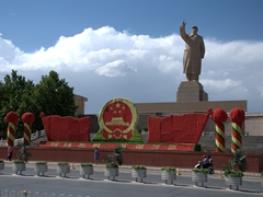 One of the largest statues of Mao in China on display at the People's Square; Kashgar