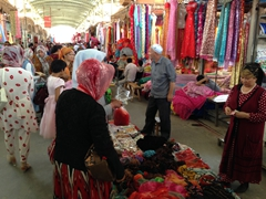 Clothing section of the Kashgar bazaar