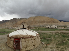 Our yurt campsite on Lake Karakol