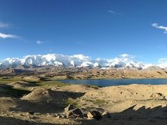 Junction of the Pamir, Tian Shan and Kunlun mountain ranges; Lake Karakol